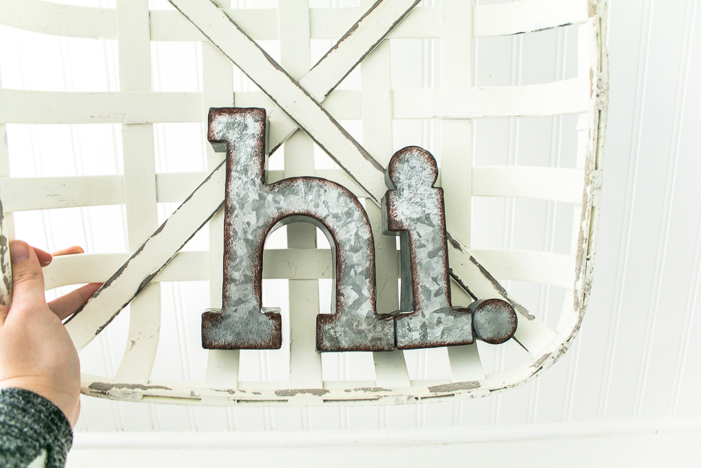 Galvanized metal hi from Hobby Lobby for spring wreath