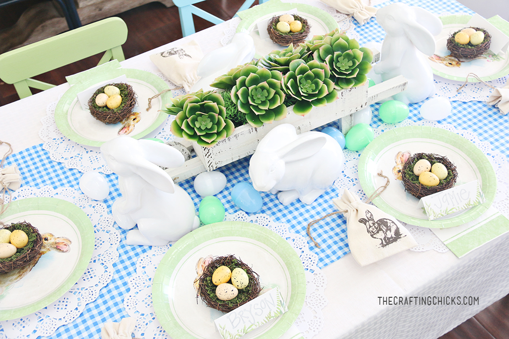 Easter Table Centerpiece for and Easter Brunch or Dinner.