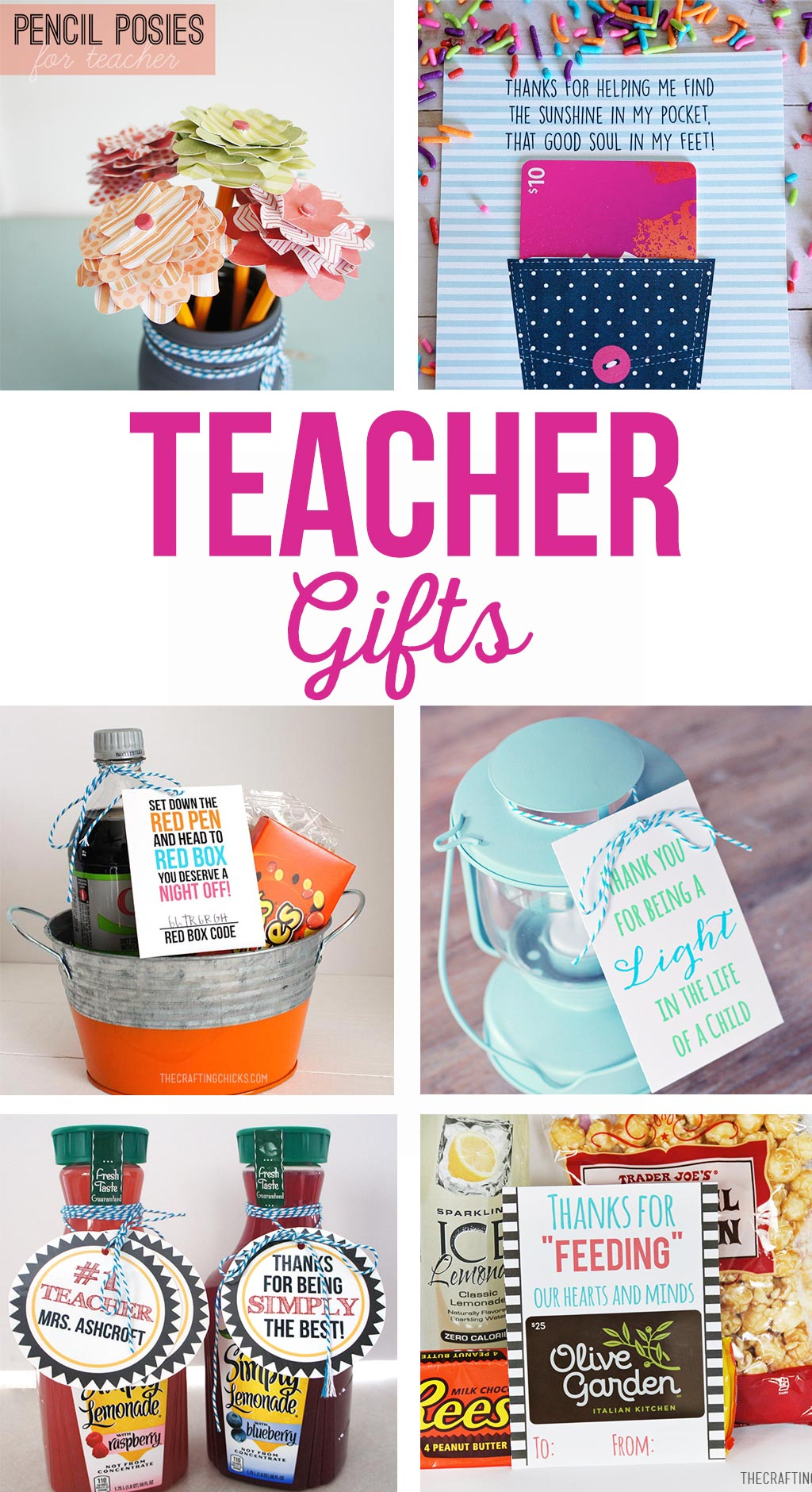 Fun and simple teacher gift ideas that won't break the bank. Free printable teacher gift tags. Gifts for teacher appreciation, end of the year, holidays and birthdays. #teachergifts #teacherappreciation #freeprintables