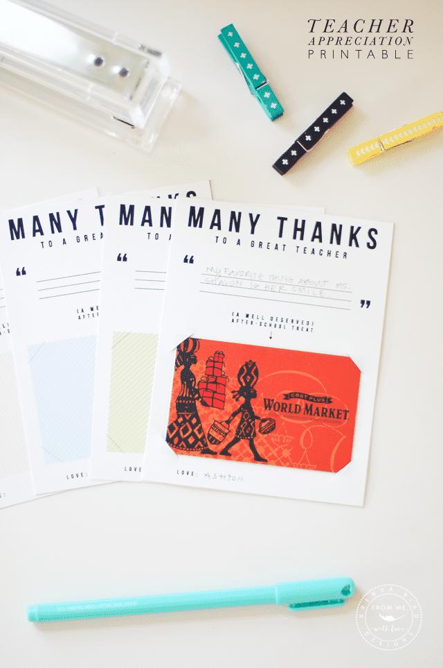 Many Thanks Printable Gift Card
