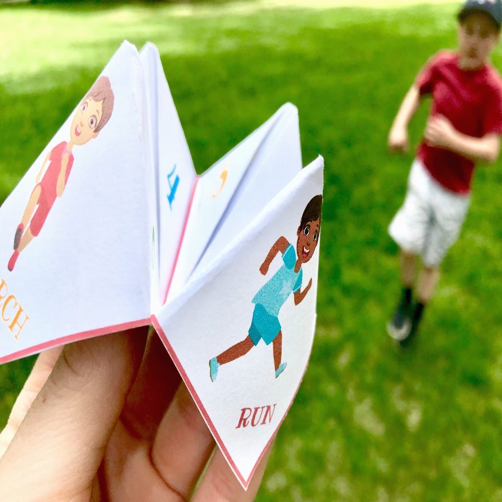 Time to Move Cootie Catcher is a fun way to get kids moving their bodies! This free printable will be a hit. #fitnessforkids #cootiecatcher #timetomove