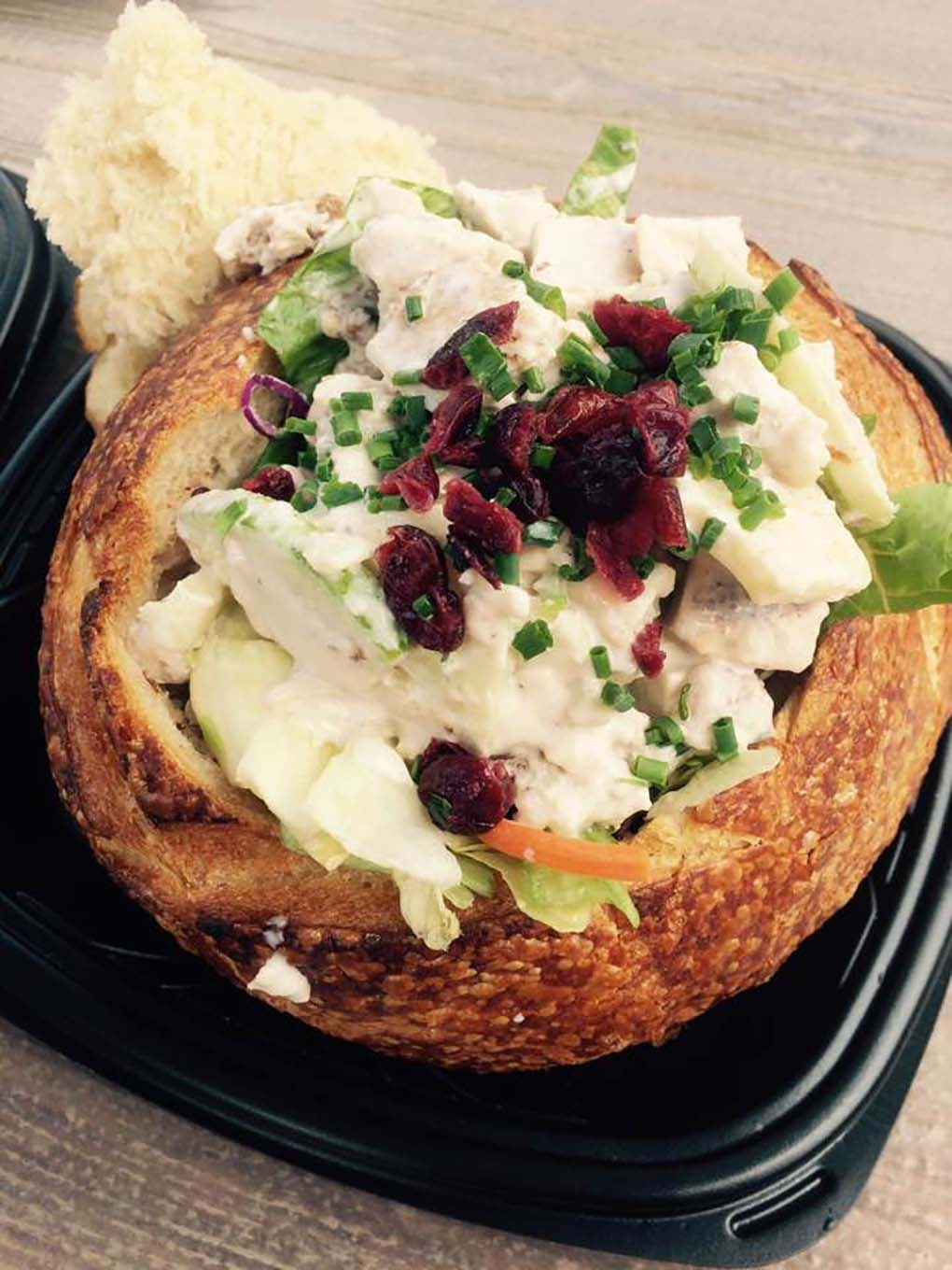 Chinese Chicken Salad in a bread bowl at Pacific Wharf Café in California Adventure Park