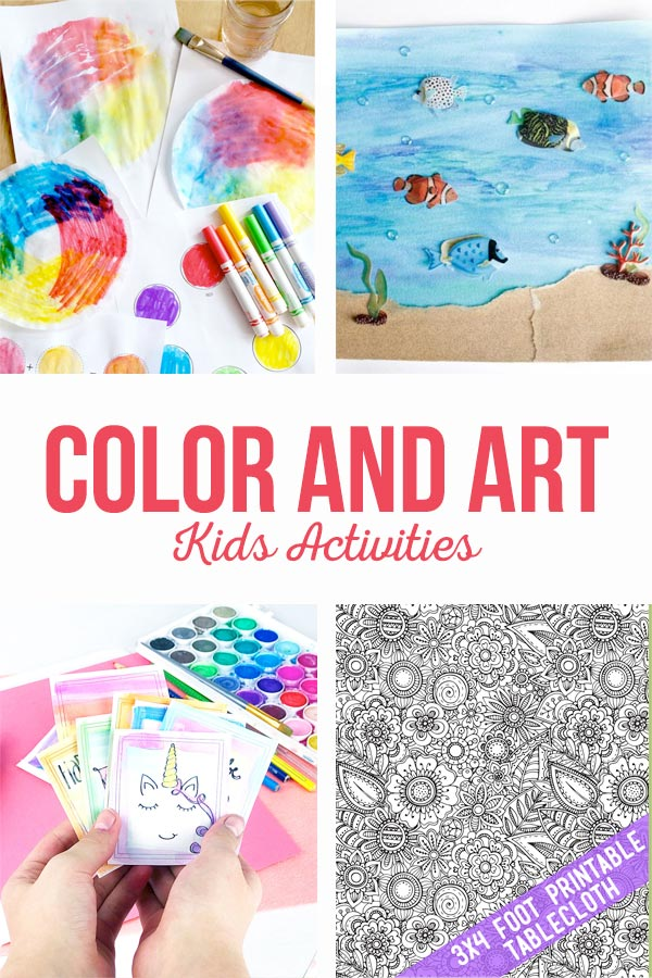 Color and Art activities are sure to provide hours of fun this summer. Printable coloring pages, watercolor, paint by number and even a mini coloring book. #color #art #coloring #kidsactivities