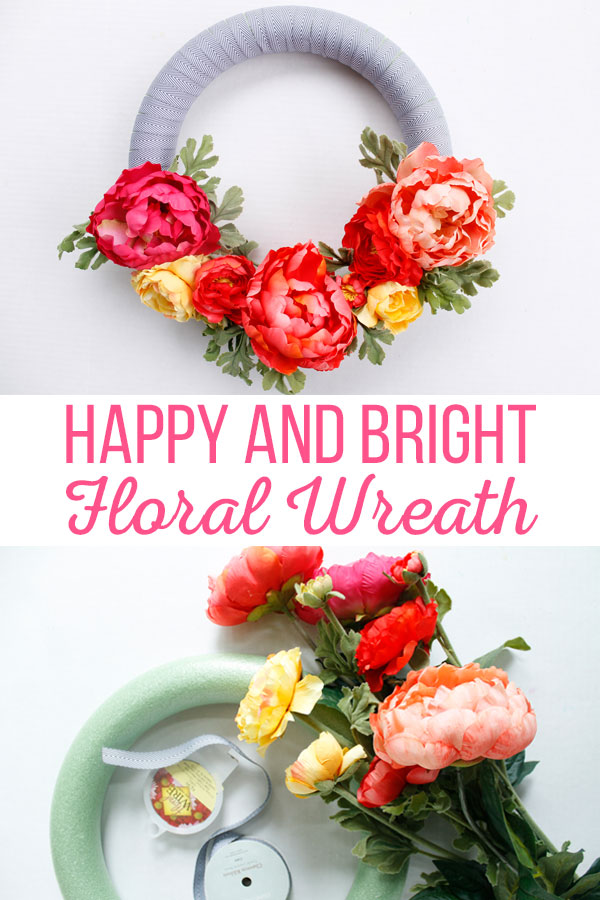 Freshen up your house with this Happy and Bright Floral Wreath. This wreath comes together quickly and is a fun addition to any home decor. #floralwreath #wreathdiy #springwreath #summerwreath