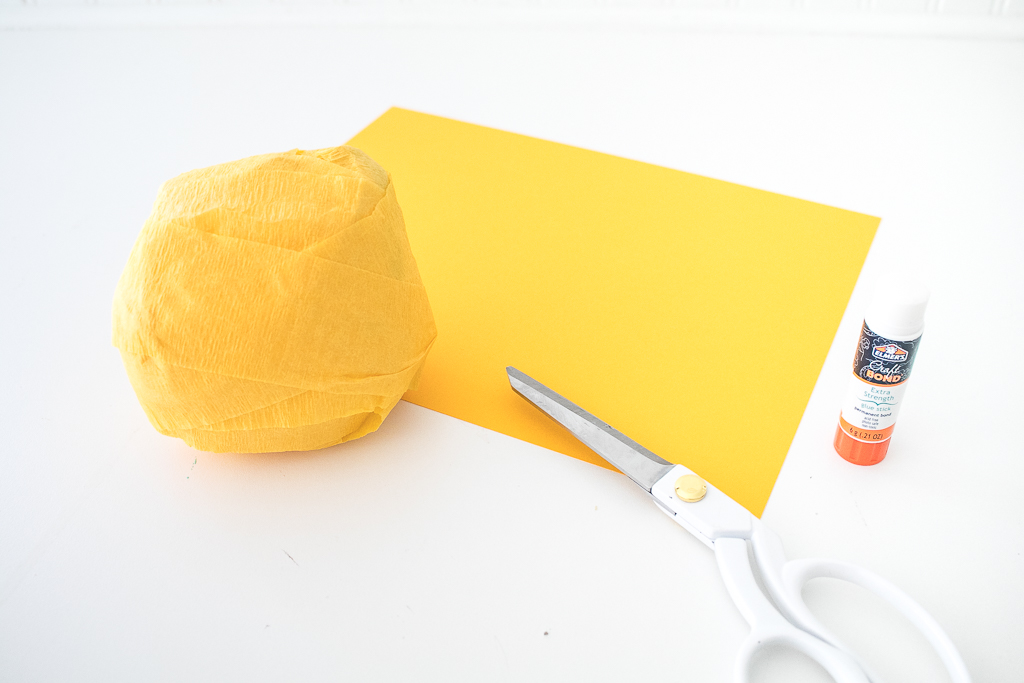 making a surprise ball construction paper and scissors