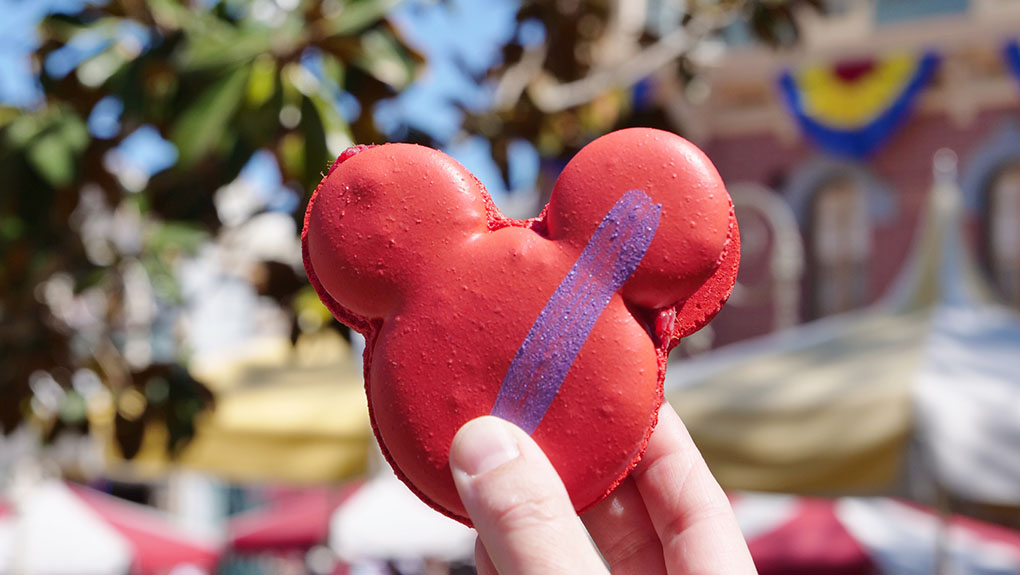 Mickey Macroon in front of the Jolly Holiday Bakery Café in Disneyland resort