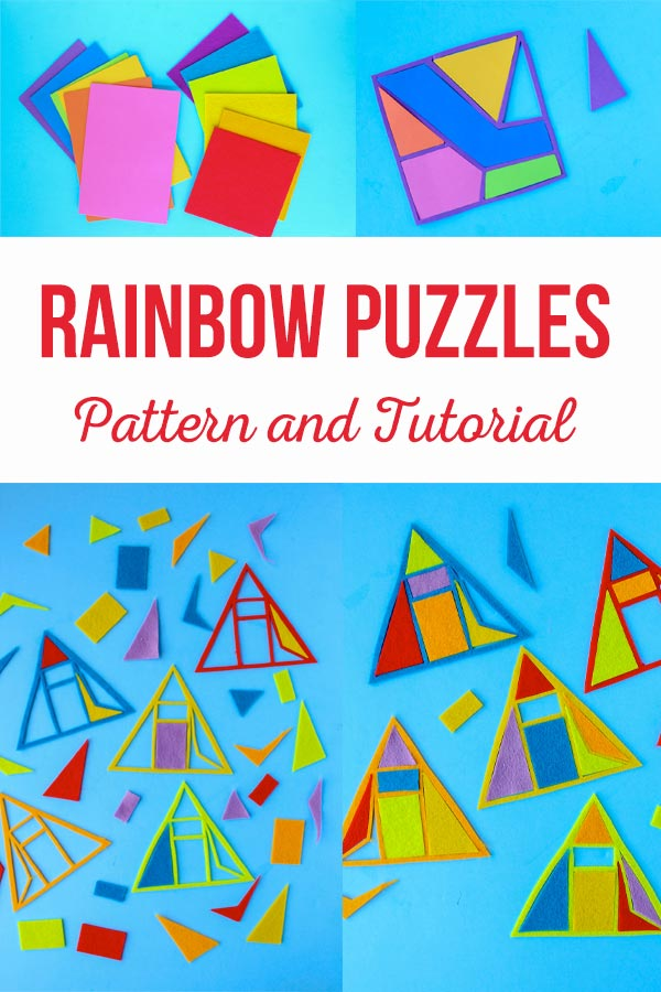Rainbow Puzzles Pattern and Tutorial is a great way to fun activity with you that is fun for the kids but also stimulating and great for their brains! You can make these from tons of different materials to make it a fun sensory experience as well! #kidscrafts #learningcraftsforkids