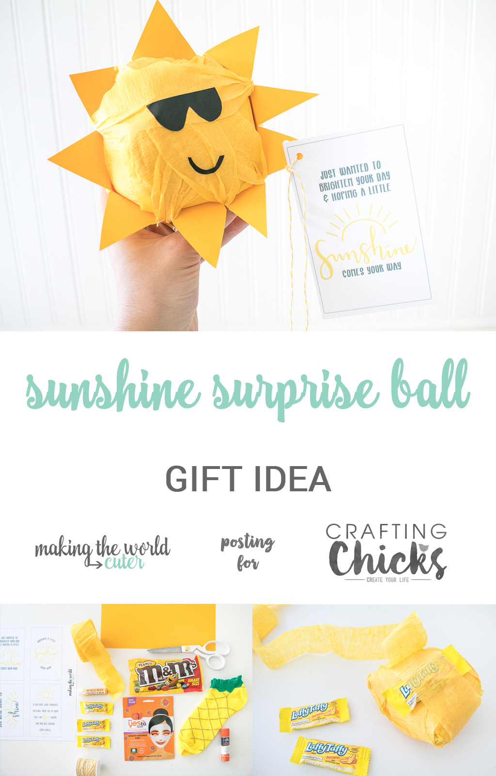 Sunshine Surprise Ball | Looking to make someone's day a little more bright? Make one of these cute sunshine surprise ball gifts for birthdays, get well gifts or just a little random act of kindness! #kindness #kids #activity #craft