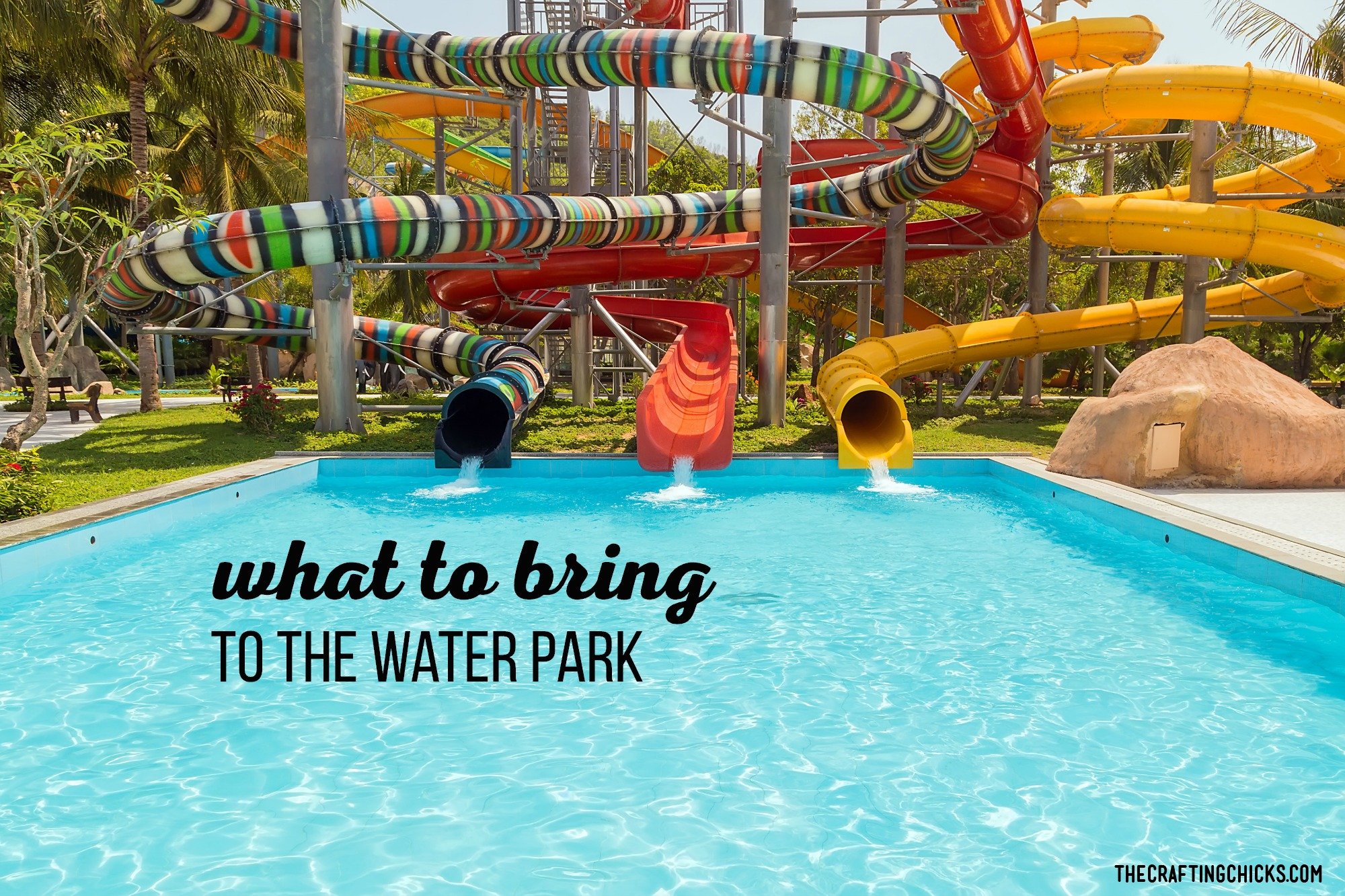 Make sure you have everything you'll need for a Water Park outing with our list of What to bring. #whattobringtothewaterpark #waterparkmusthaves #waterparkvacations