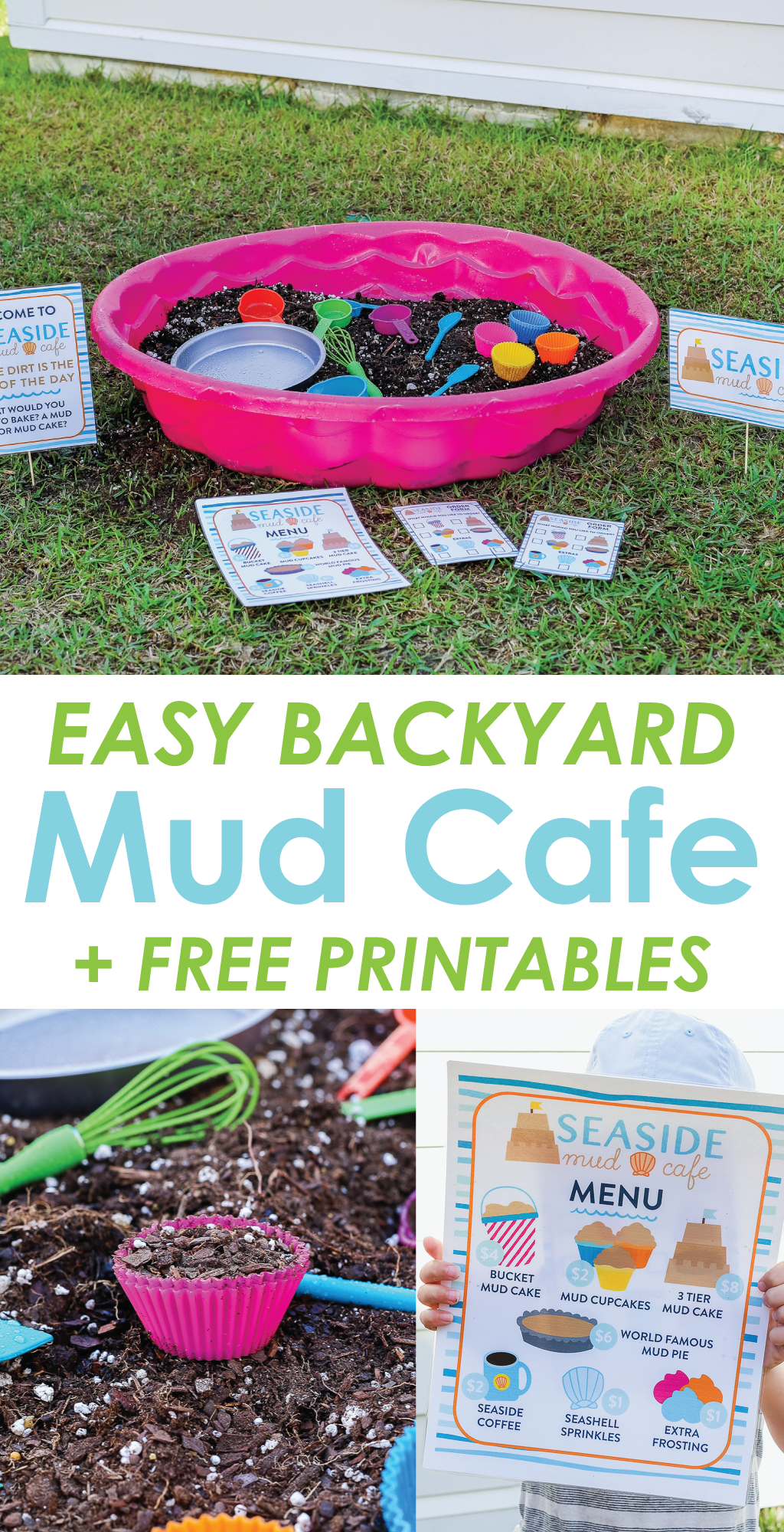 Get outside this summer with this easy outdoor imaginative play idea for kids. Seaside Mud Cafe is the perfect activity that encourages imagination, play, and hands on learning. Includes FREE printables so you can easily set up your own mud kitchen in your own backyard. #kids #activity #outdoor #play #printable #learning #backyard