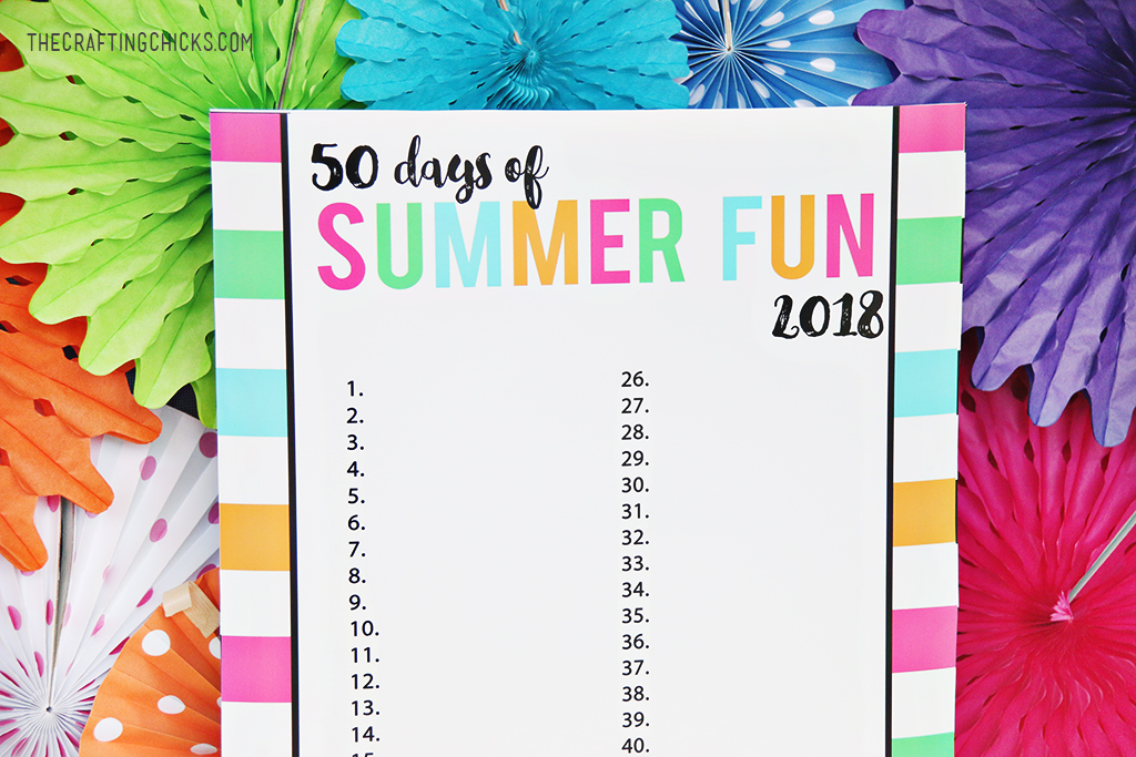 Summer Fun Chart Free Printable for 50 Days of Summer fun this year! Brainstorm fun activities and write them down...and make memories this summer!
