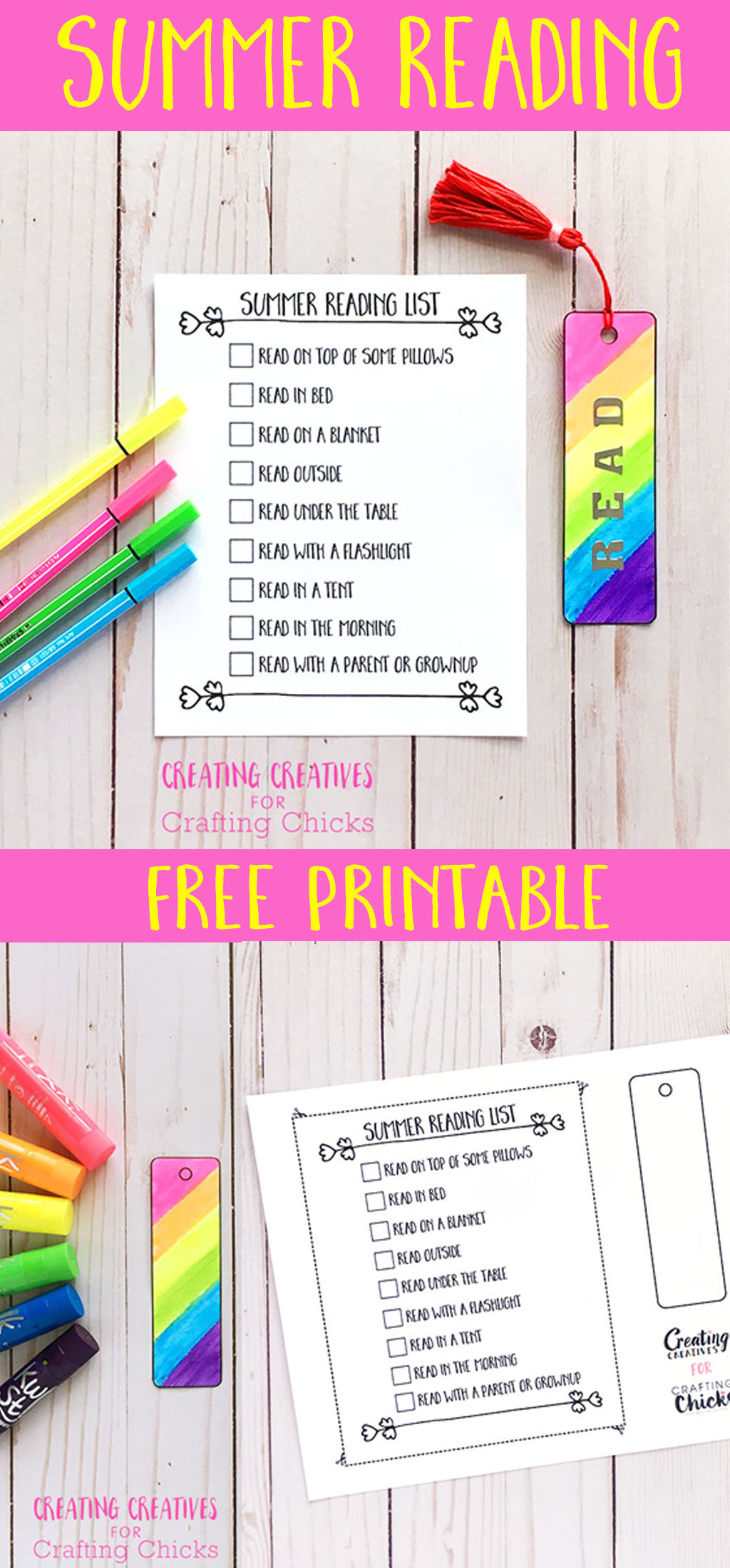 DIY Tassel Bookmarks | Printable Bookmarks and Reading List #kidscraft #reading #summer