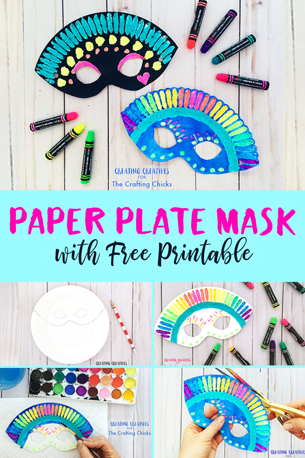 Paper Plate Mask with Free Printable | This paper plate mask is a simple yet super fun mask, perfect to get those amazing little imaginations warmed up and ready for some imaginary play.