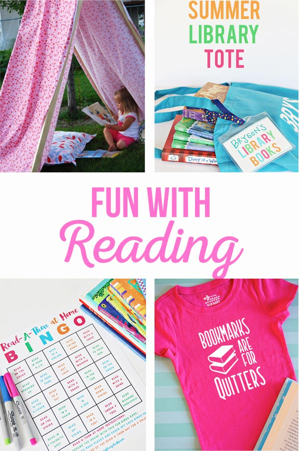 Fun with Reading | Activities to keep your kids excited about reading this summer! Printable Reading Bingo, reading snack and DIY book lovers T-shirts.