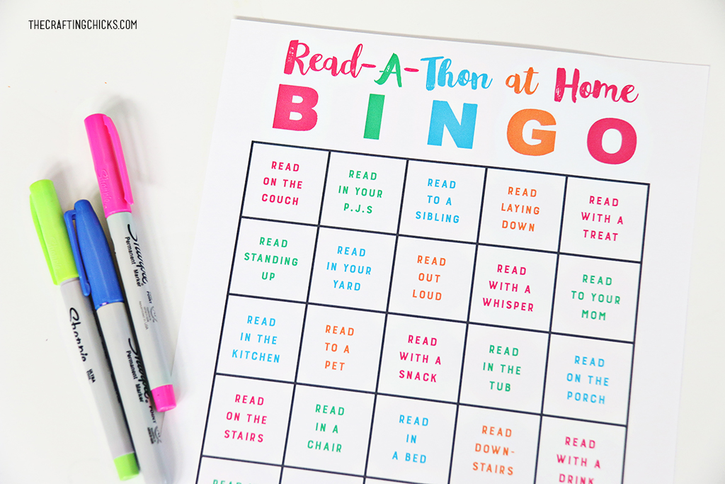 Read-A-Thon Bingo at Home to encourage summer reading! Kids will love this fun game of Reading around the house! Mom's will love seeing their kids read!