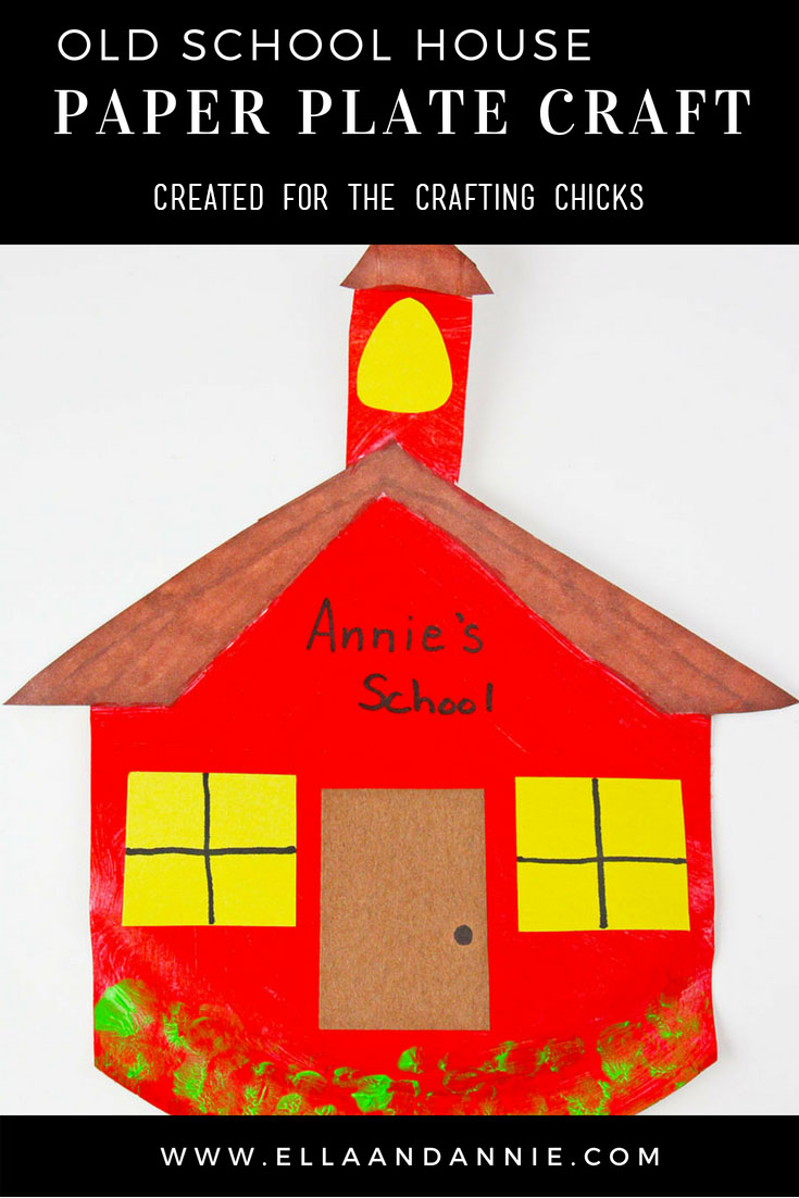 Back to School Preschool Craft | Learn about going to school with our back to school paper plate old school house craft! Perfect for prechool and kindergarten aged kids. #kids #craft #school #backtoschool #preschool #paper #plate #activity