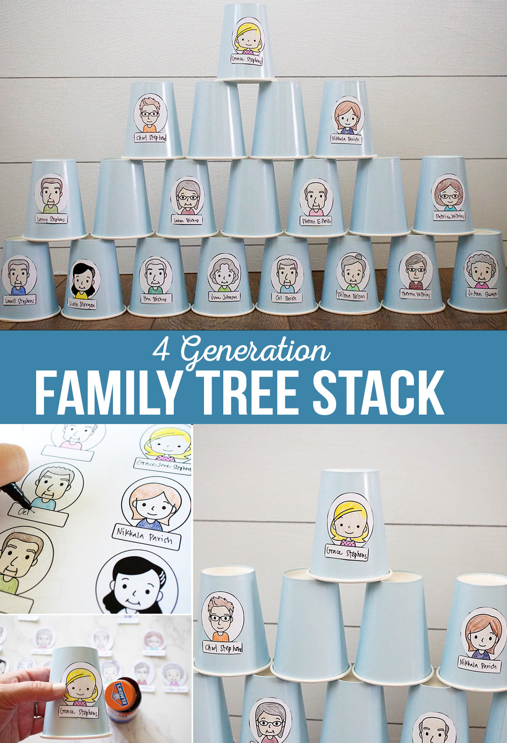 4 Generation Family Cup Stack | Get to know your family tree with a fun cup stack activity! Printables and instructions to make your own family stack. #familytree #printables #activitydays #familyhomeevening
