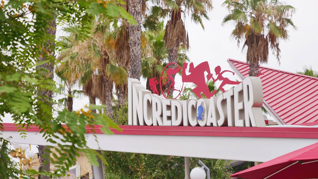 Incredicoaster sign at Disney California Adventure Park