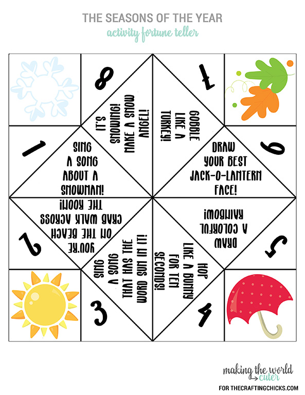 Seasons Activity Fortune Teller Printable