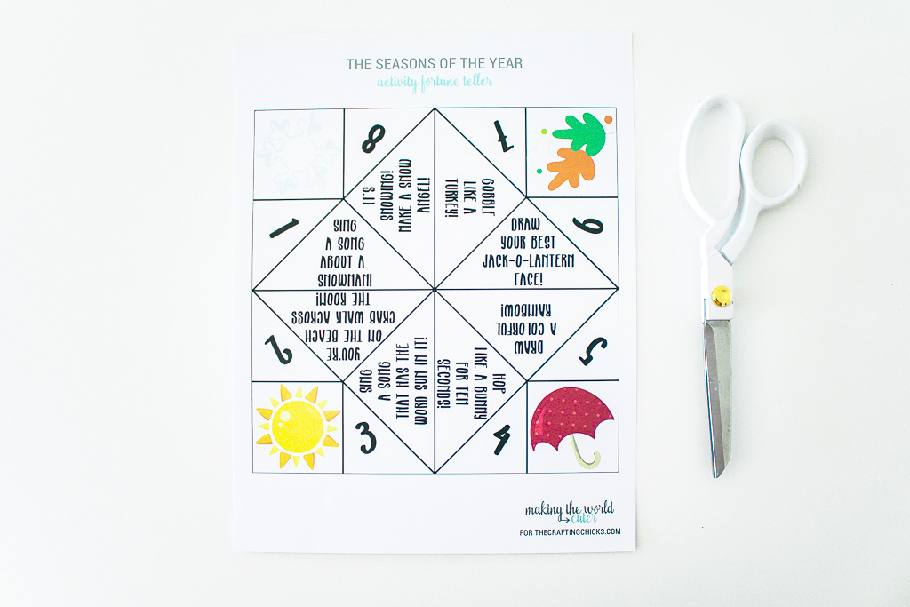Seasons Activity Fortune Teller Free Printable