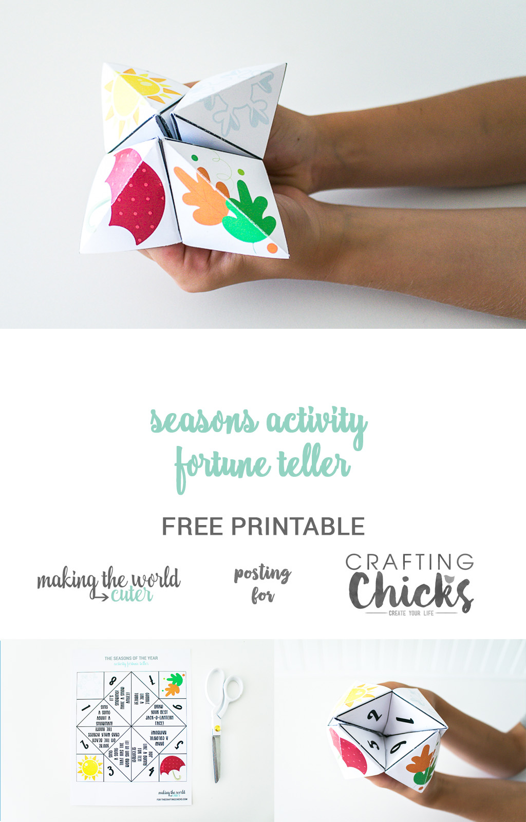 picture relating to Printable Fortune Teller named Seasons Game Fortune Teller Totally free Printable - The