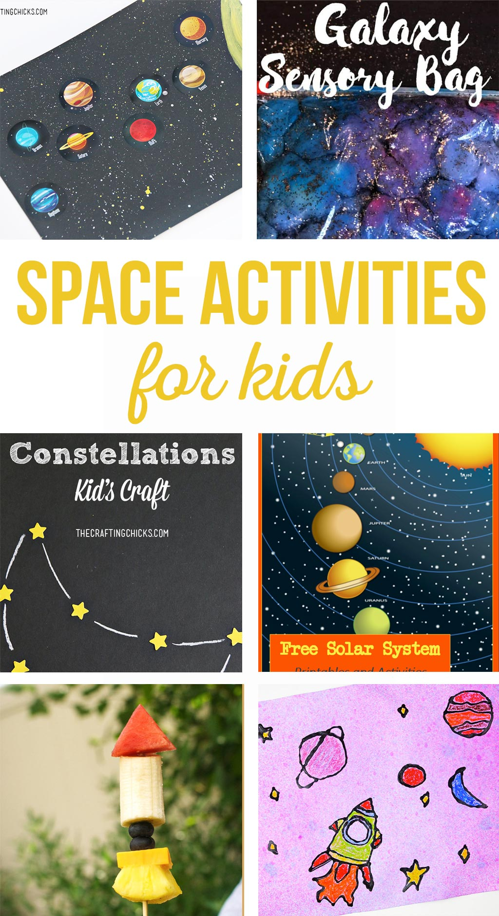 Space Activities for Kids | Crafts and activities involving space and the solar system.  Kids will love these simple, fun projects! #kidsactivities #kidscrafts #space #solarsystem