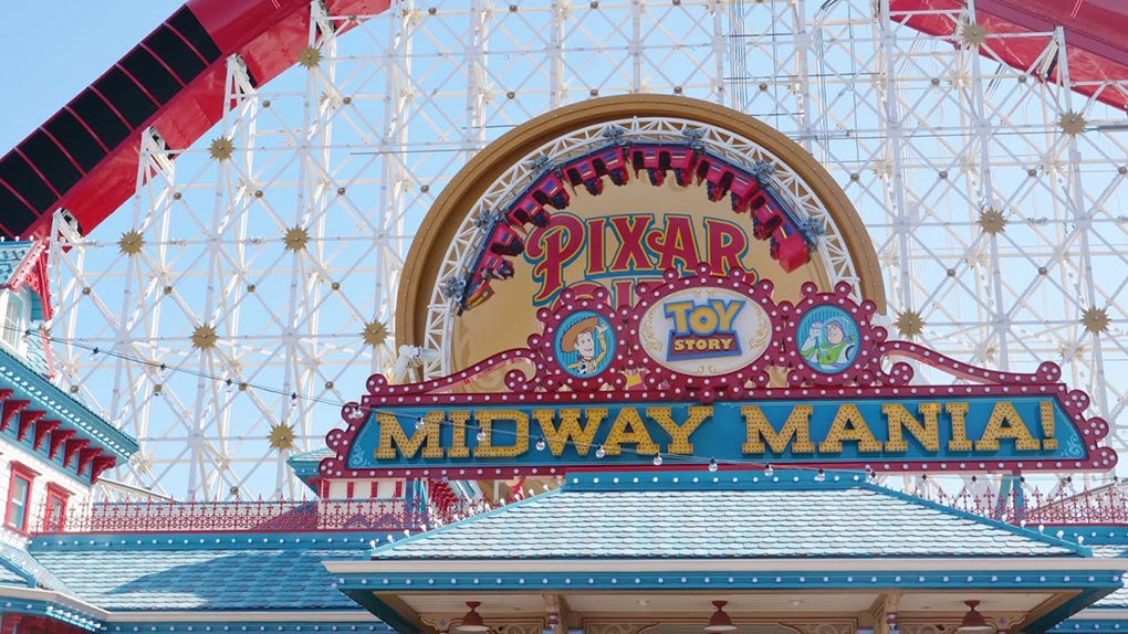 Midway Mania! sign at Disney California Adventure Park