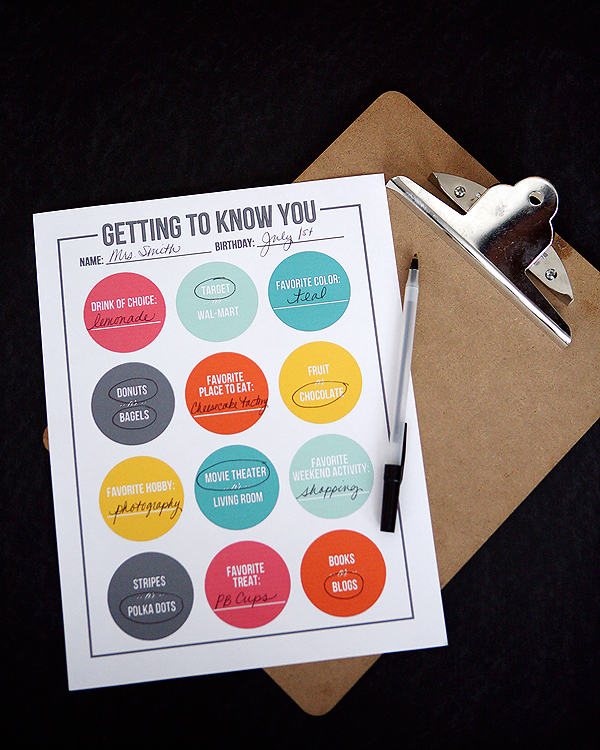 getting to know your teacher printable