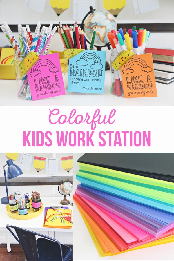 Colorful Kids Work Station with lazy susan that has coloring supplies and lots of colorful paper.
