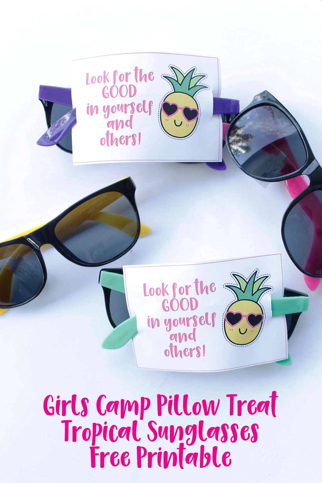 This Girls Camp Pillow Treat Tropical Sunglasses Free Printable is sure to be a hit with the young women in your group. #ldsgirlscamp #girlscamppillowtreat #girlscamptreat #girlscampprintables