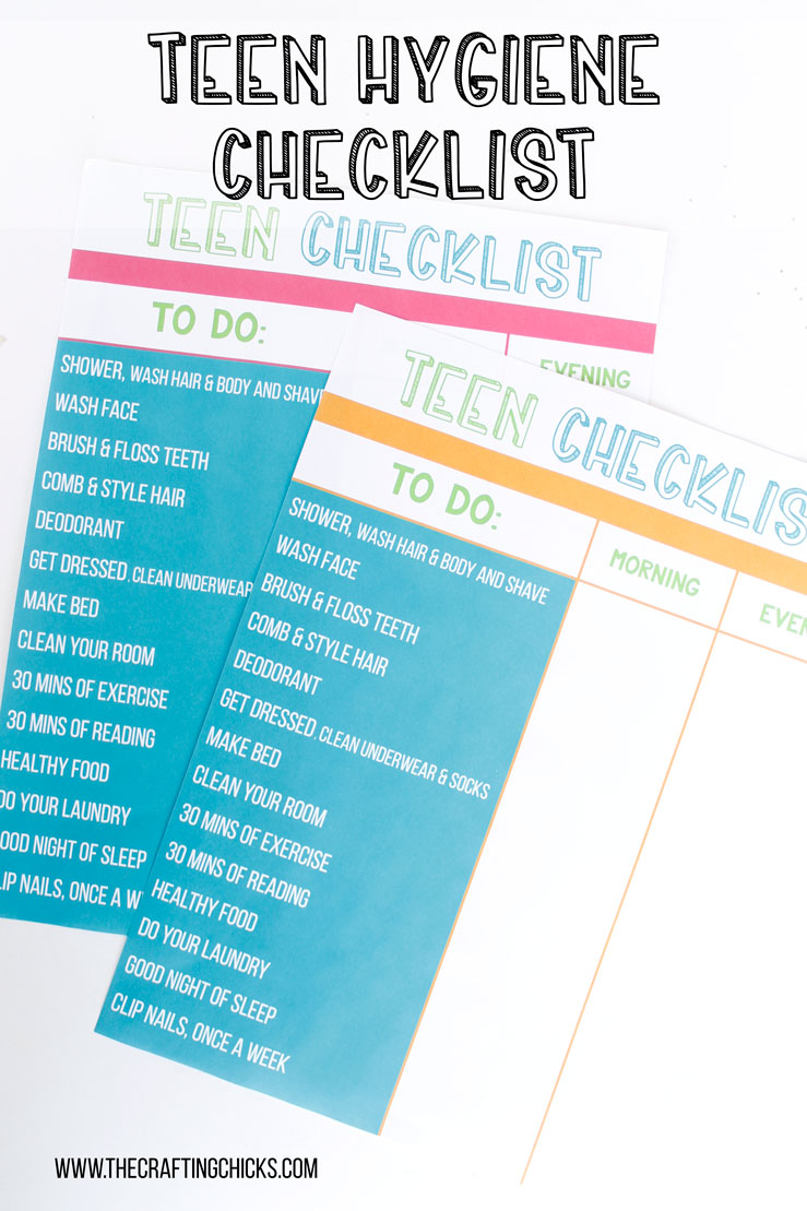 Teen Hygiene Checklist, tween hygiene checklist, hygiene reminder for teens, hygiene reminder for tweens