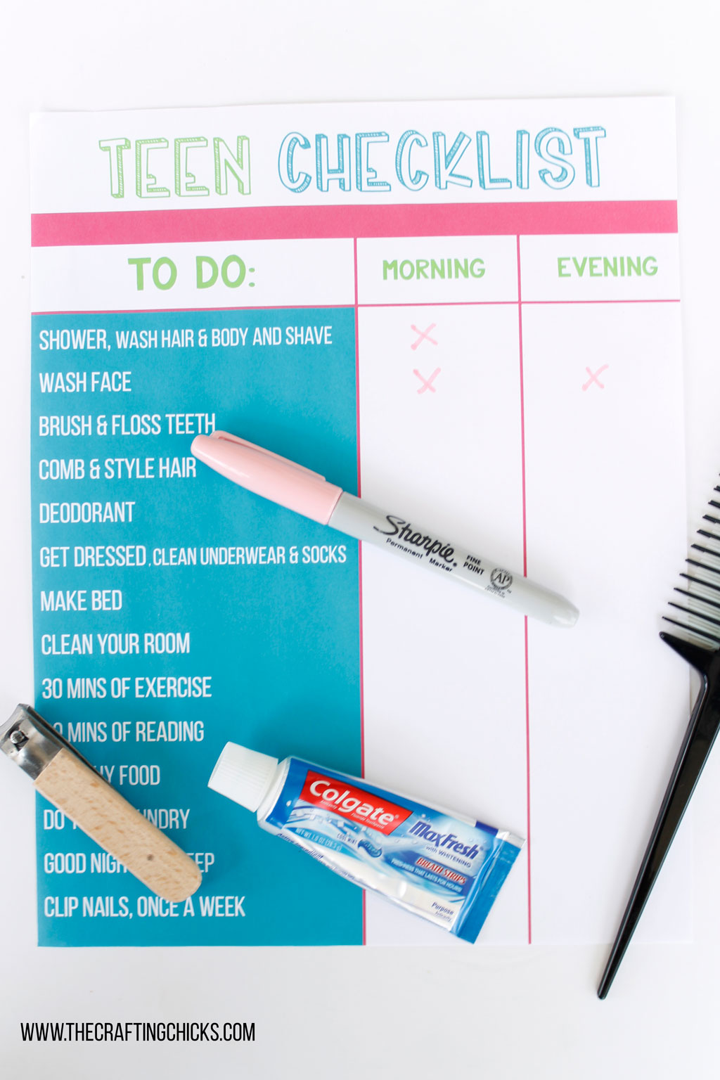 Teen Hygiene Checklist for teens and tweens