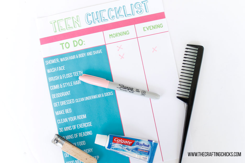 Teen Hygiene Checklist, tween hygiene checklist, hygiene reminder for teens, hygiene reminder for tweens
