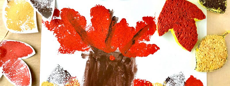 Fall Leaf Sponge Stamp Kids Craft perfect for little hands of all ages. Easy prep and simple supplies make this kids craft a great addition to Fall fun!