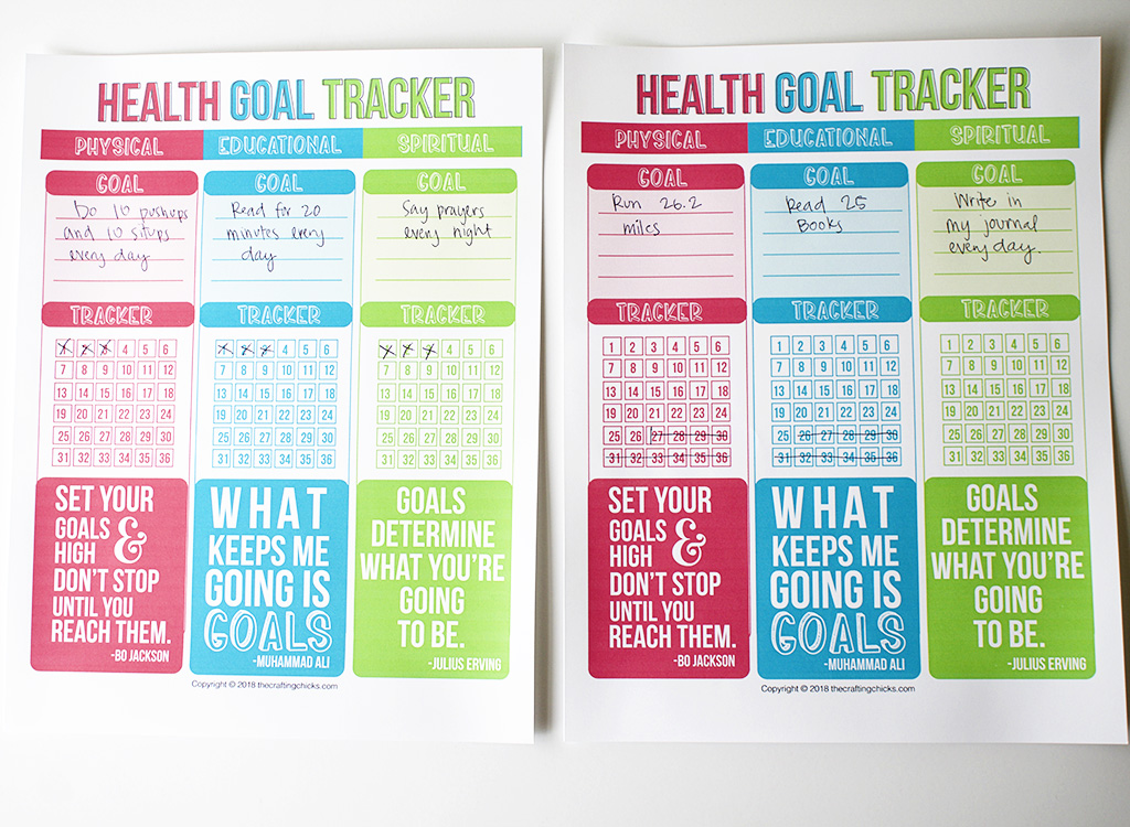 Health Goal Tracker Printable