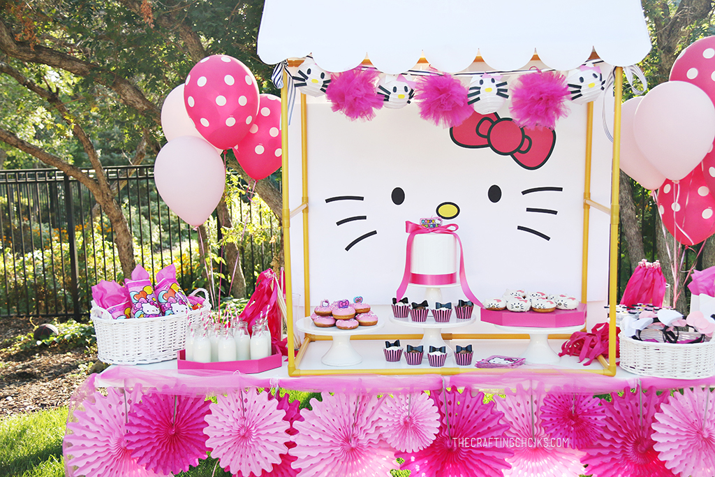 Hello kitty birthday party dessert table set up with printable backdrop and bright and light pink party fans