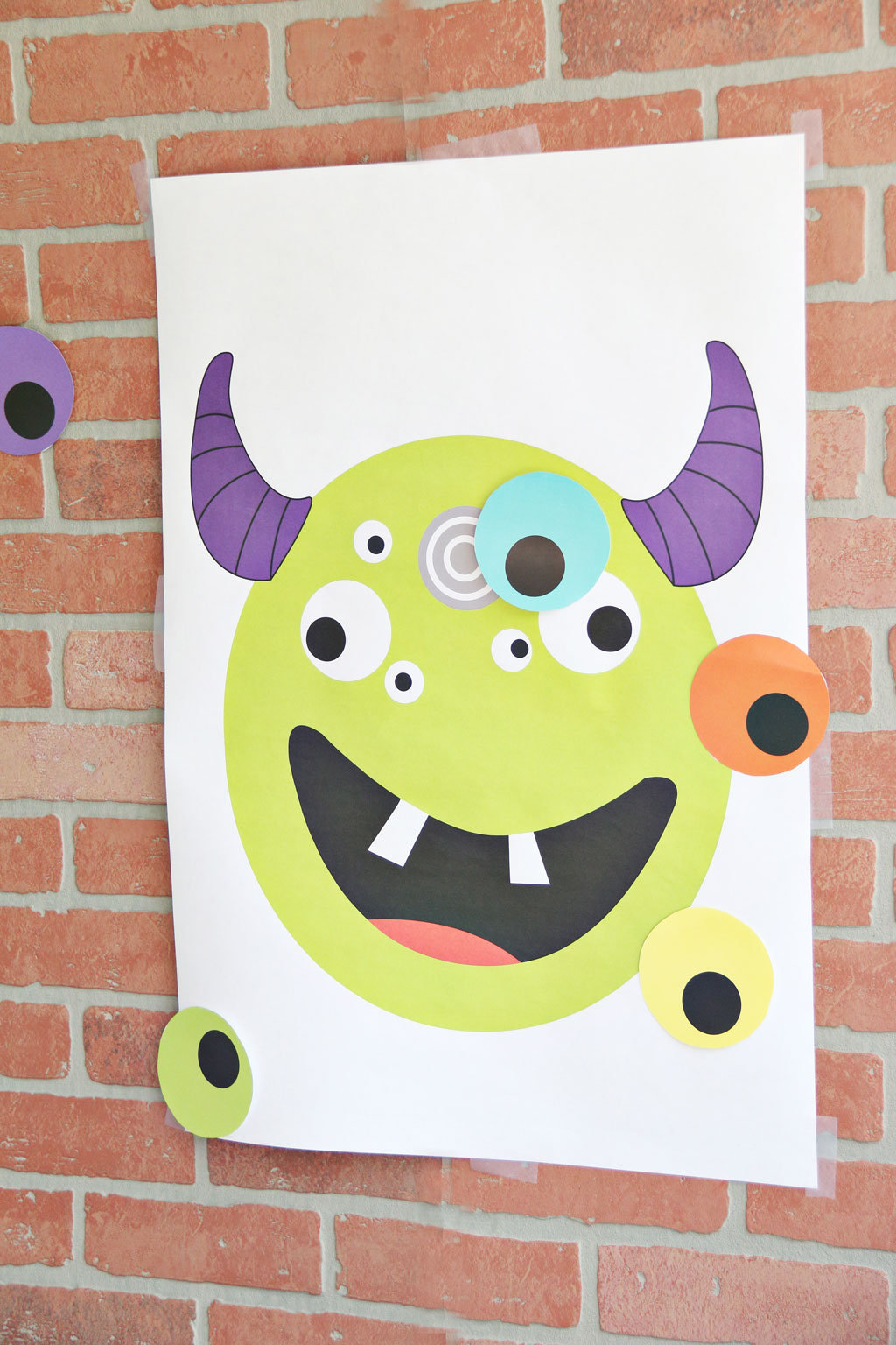 Pin the eye on the monster halloween game for kids
