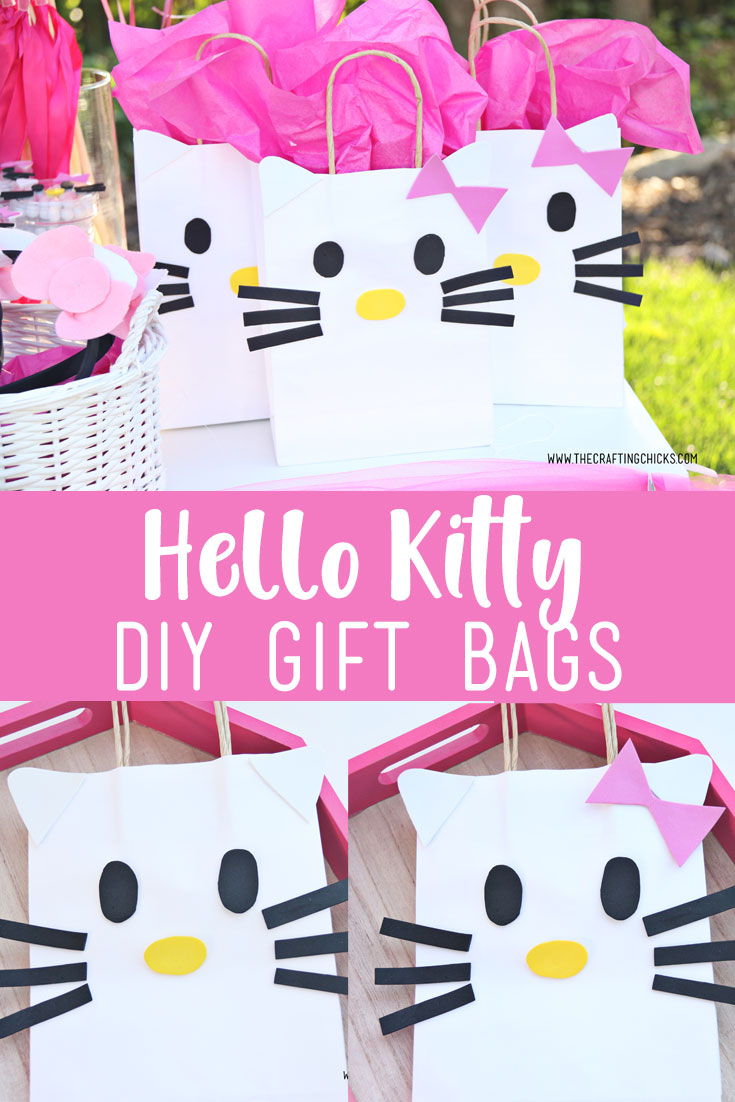 Give your Hello Kitty lover a great gift inside one of these Hello Kitty DIY Gift Bags. So cute, and so easy to make.  #hellokitty #hellokittybirthdayparty