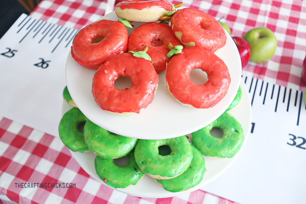 Red and green apple decorated donuts