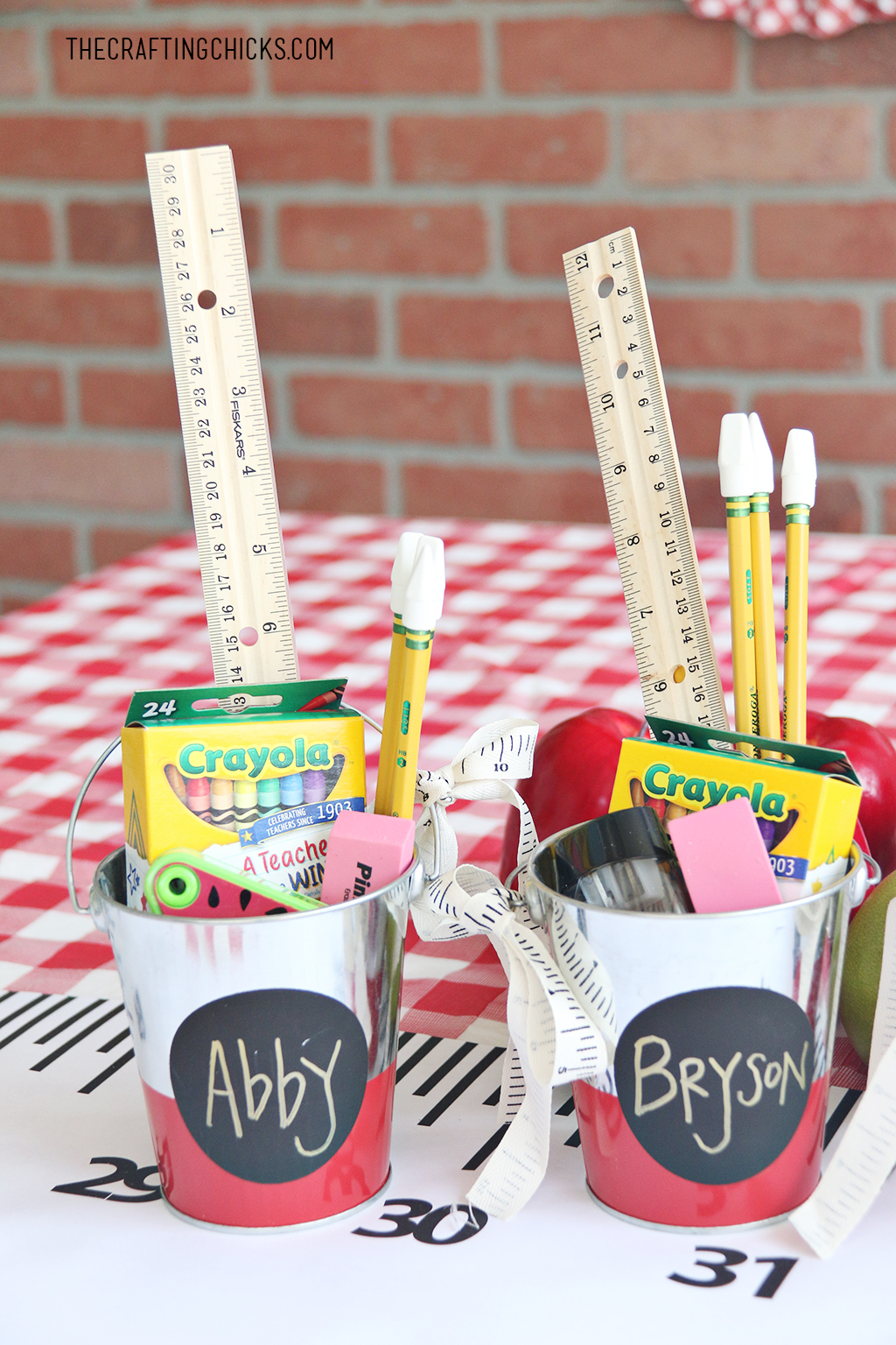 Back to School Supply Gift Idea. School supplies in a small tin bucket