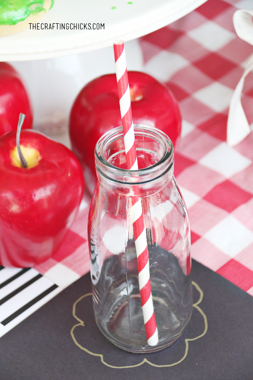 Glass milk jar on table for Back to School Party Place Settings
