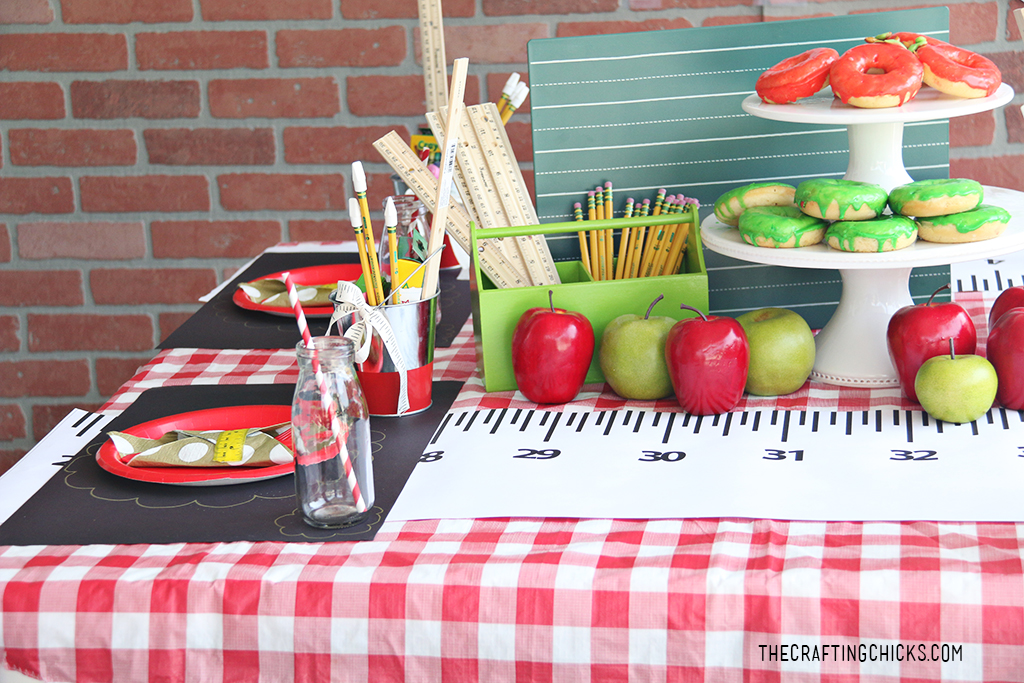 Ruler Runner for back to school party set up.