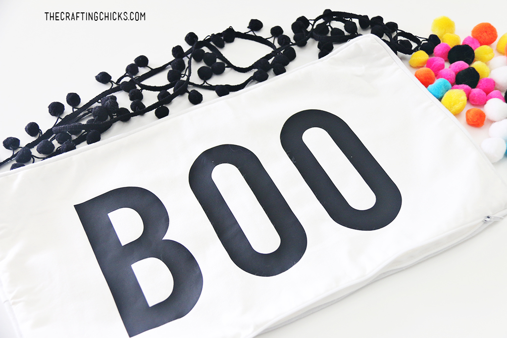 """Boo"" Pillow for Halloween for Halloween Decor, iron on vinyl Boo pillow"