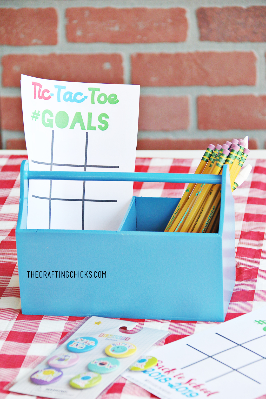 Back to School Goal Setting Tic-Tac-Toe printable in blue caddy with pencils
