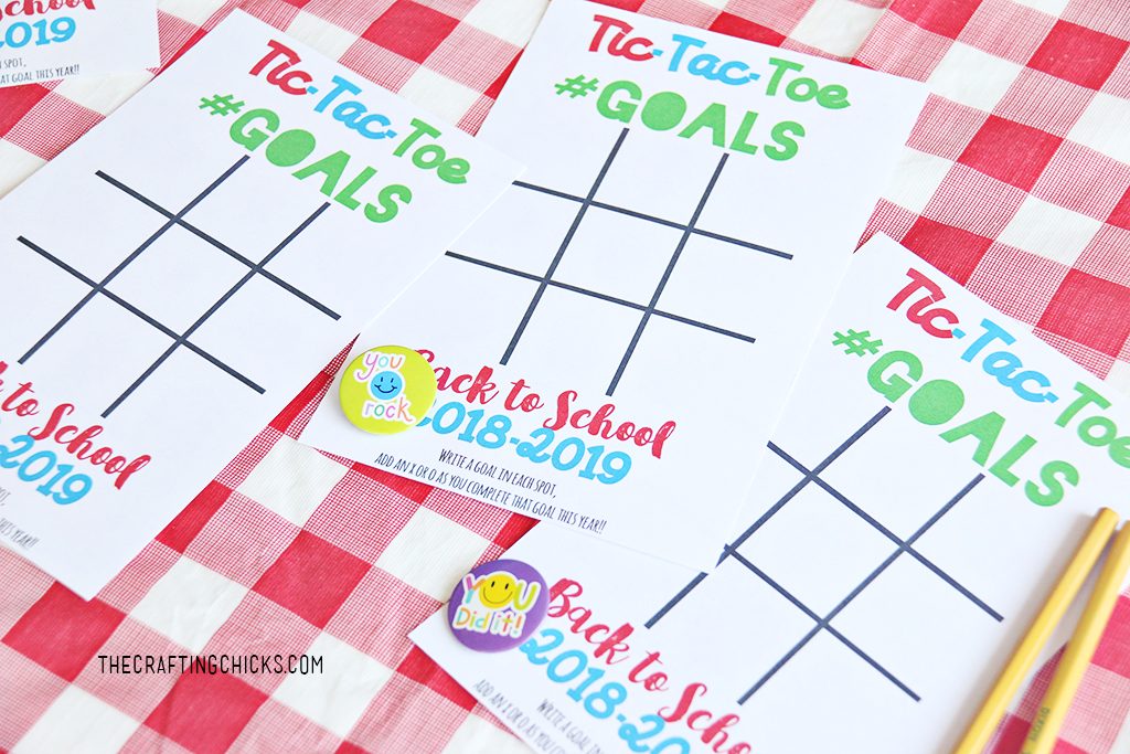 Back to School Goal Setting Tic-Tac-Toe printables with buttons