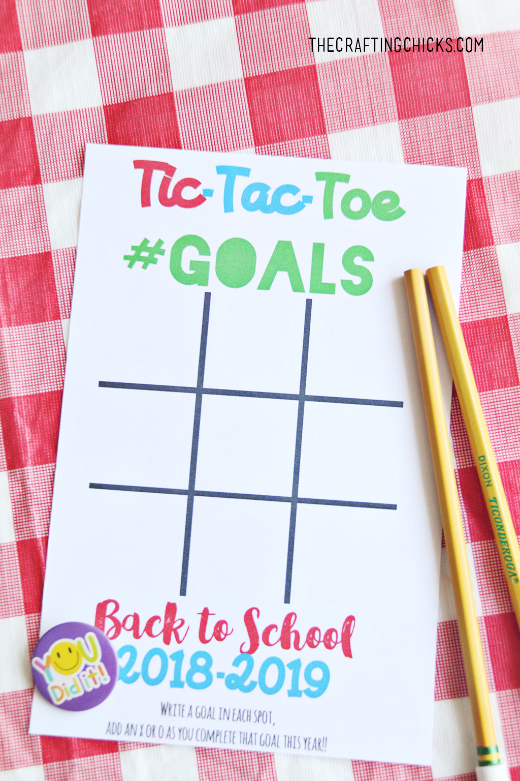 Back to School Goal Setting Tic-Tac-Toe printable with pencils on table