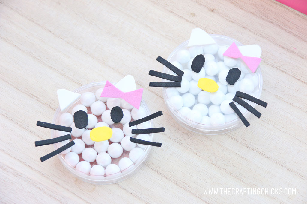Hello Kitty DIY candy dishes on a table