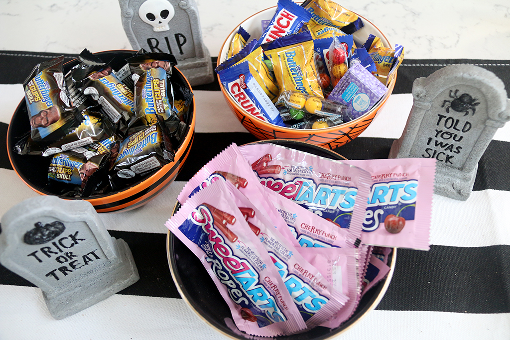 Nestle candy in Halloween bowls
