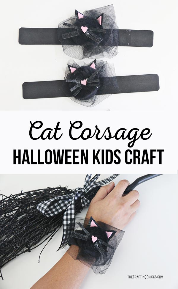 Cat Corsage Halloween Kid Craft for a fun Witch Tea Party! Kids will love creating this adorable cat craft for a Halloween Witch Tea Party! #halloweenkidscraft @halloweencrafts #witchparty