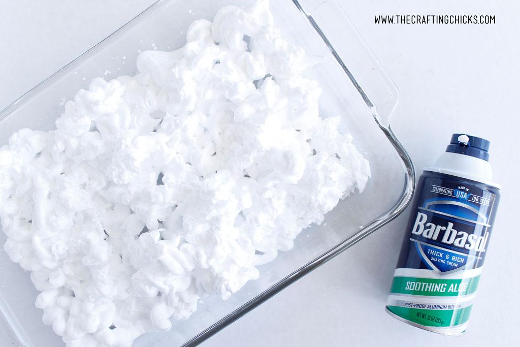 Shaving cream in a glass 9x13 baking dish for shaving cream fall leaves